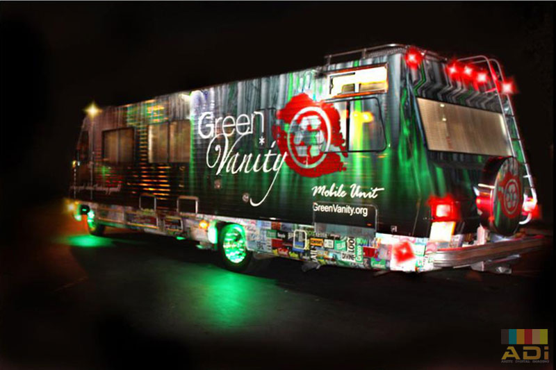 Green Vanity Mobile Unit with Bus Wrap