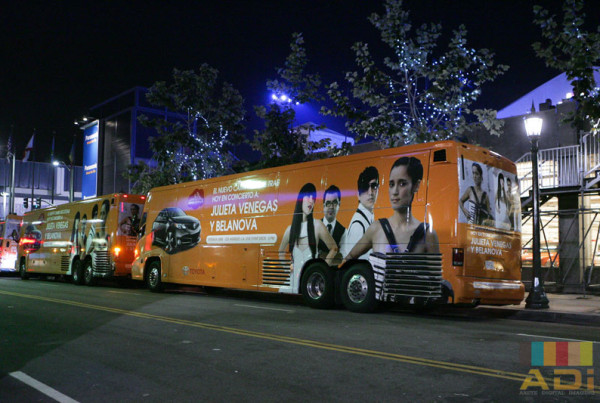 Mobile Advertisement for TV Show in a Bus Wrap