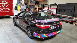 Racing Carp Wrap, Vehicle Advertisement Wrap, Advertisement Car Wrap, Toyota Camry Car Wrap